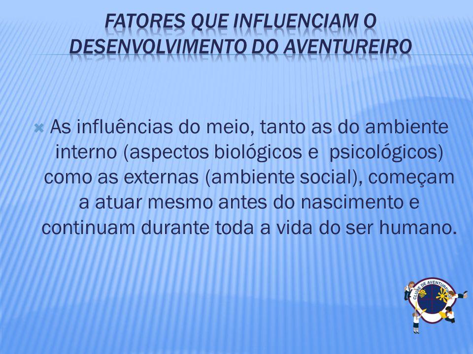 As influências do meio, tanto as do ambiente interno (aspectos biológicos e psicológicos) como as externas (ambiente social), começam a atuar mesmo an