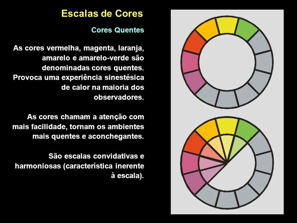 Escalas de Cores Cores Quentes As cores vermelha, magenta, laranja, amarelo e amarelo-verde são denominadas cores quentes. Provoca uma experiência sin