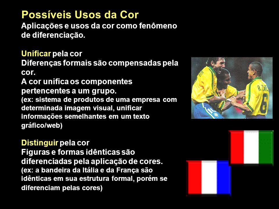 Possíveis Usos da Cor Aplicações e usos da cor como fenômeno de diferenciação. Unificar pela cor Diferenças formais são compensadas pela cor. A cor un