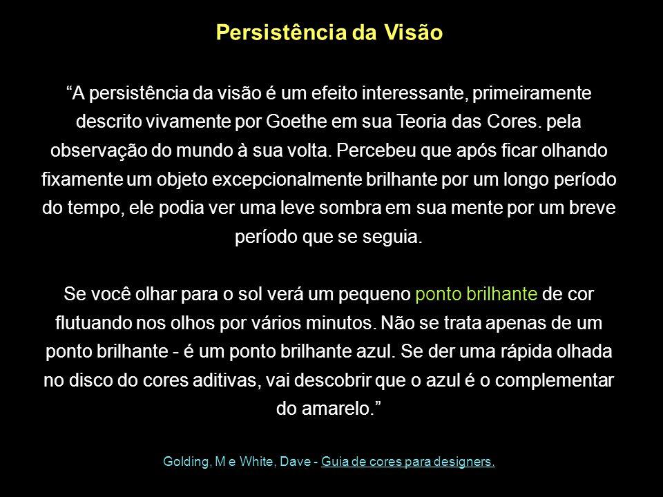 Persistência da Visão A persistência da visão é um efeito interessante, primeiramente descrito vivamente por Goethe em sua Teoria das Cores. pela obse