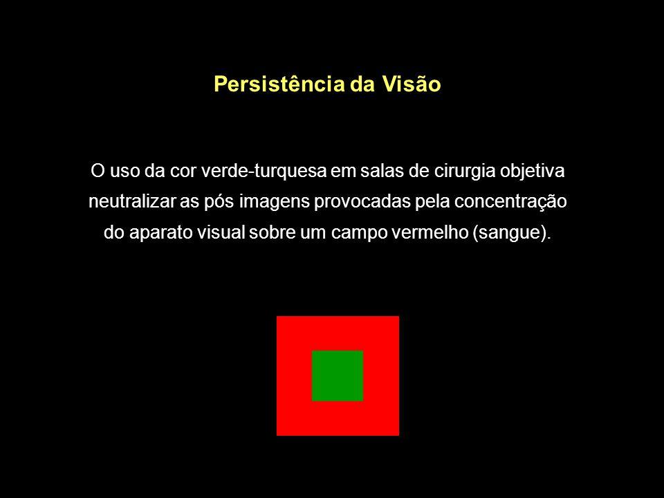 Persistência da Visão O uso da cor verde-turquesa em salas de cirurgia objetiva neutralizar as pós imagens provocadas pela concentração do aparato vis