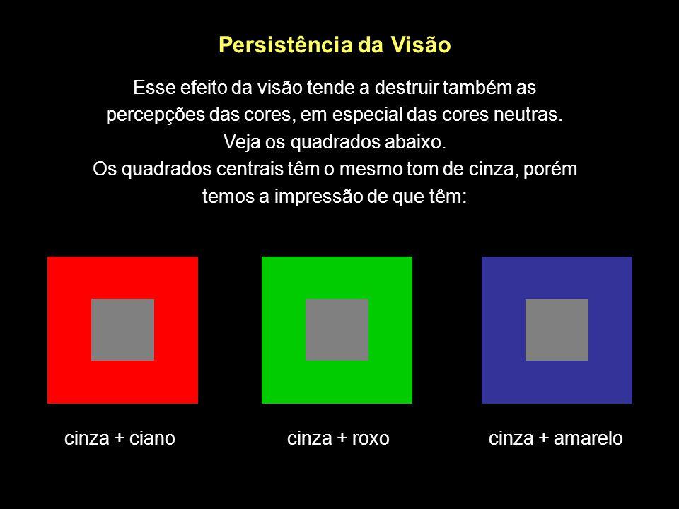 cinza + cianocinza + roxocinza + amarelo Persistência da Visão Esse efeito da visão tende a destruir também as percepções das cores, em especial das c