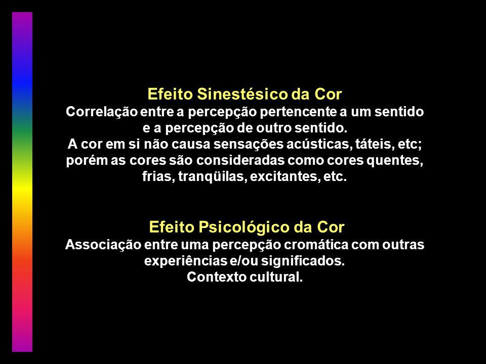 Efeito Sinestésico da Cor Correlação entre a percepção pertencente a um sentido e a percepção de outro sentido. A cor em si não causa sensações acústi