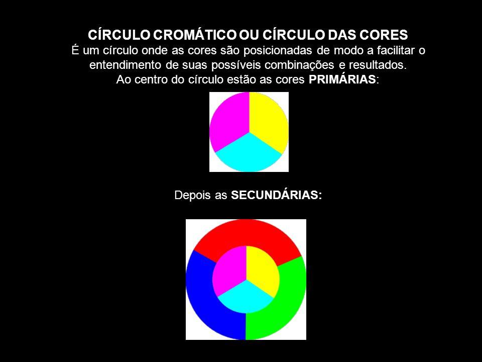 CÍRCULO CROMÁTICO OU CÍRCULO DAS CORES É um círculo onde as cores são posicionadas de modo a facilitar o entendimento de suas possíveis combinações e