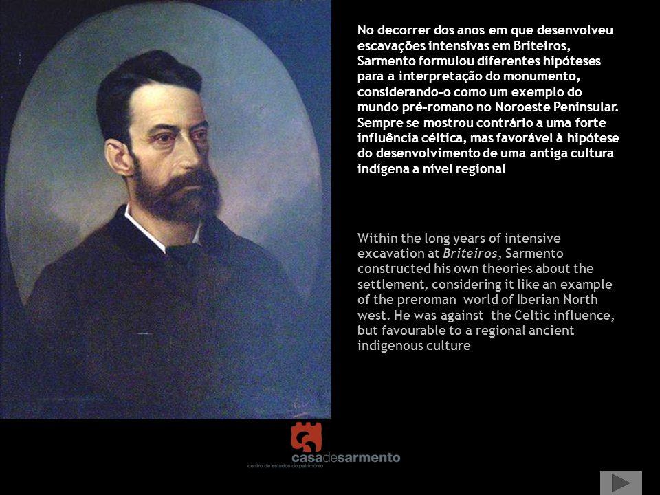 No decorrer dos anos em que desenvolveu escavações intensivas em Briteiros, Sarmento formulou diferentes hipóteses para a interpretação do monumento,