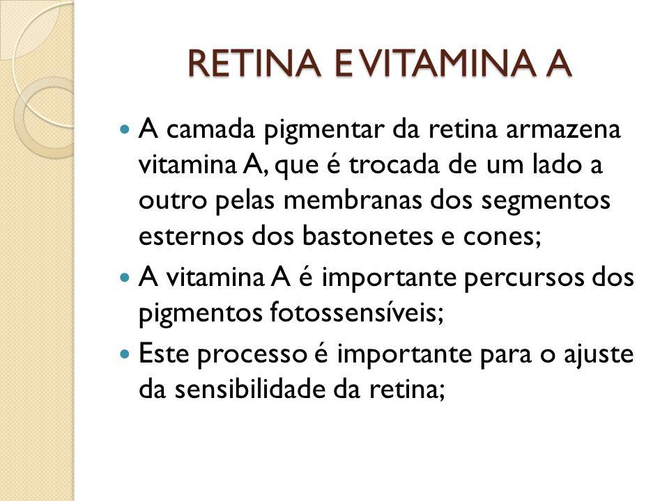 USO DE LENTES DE PROTEÇÃO CONTRA A LUZ SOLAR É importante a proteção da retina contra a radiação solar, principalmente nos que tem doenças degenerativas da retina, pois a radiação acelera um processo de catarata precoce e anula o efeito da vitamina A na retina; Por este motivo se recomenda o uso de lentes protetoras contra raios UV e raios azuis;