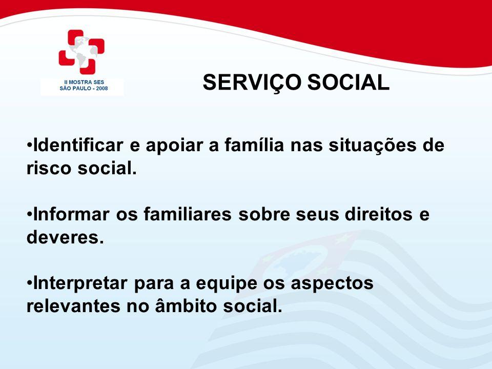 Identificar e apoiar a família nas situações de risco social. Informar os familiares sobre seus direitos e deveres. Interpretar para a equipe os aspec
