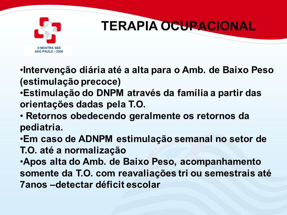 TERAPIA OCUPACIONAL Intervenção diária até a alta para o Amb. de Baixo Peso (estimulação precoce) Estimulação do DNPM através da família a partir das