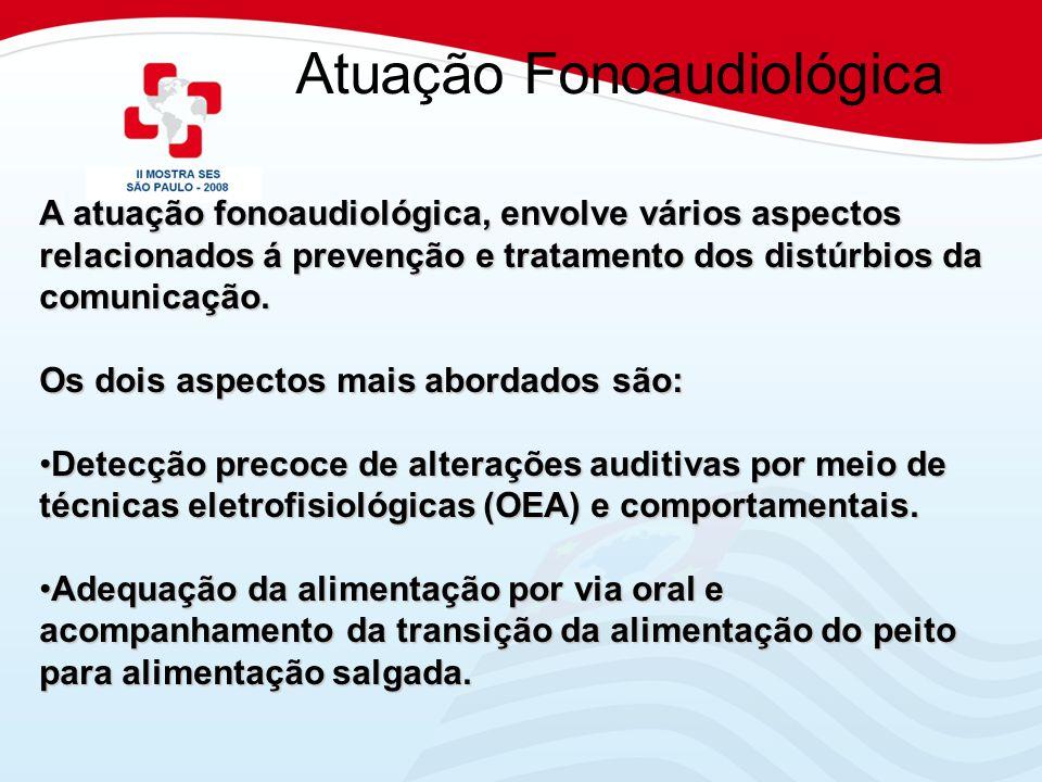 Atuação Fonoaudiológica A atuação fonoaudiológica, envolve vários aspectos relacionados á prevenção e tratamento dos distúrbios da comunicação. Os doi