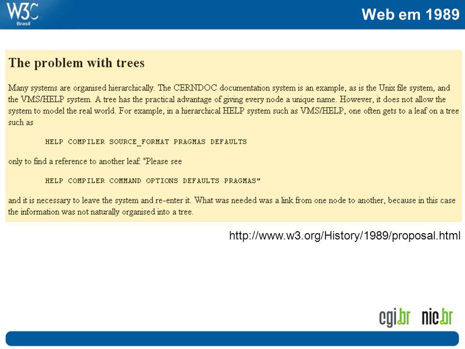 Web em 1989 Passado http://www.w3.org/History/1989/proposal.html