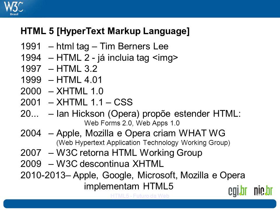 32HTML5 - Futuro da Web 1991 – html tag – Tim Berners Lee 1994 – HTML 2 - já incluia tag 1997– HTML 3.2 1999 – HTML 4.01 2000– XHTML 1.0 2001– XHTML 1