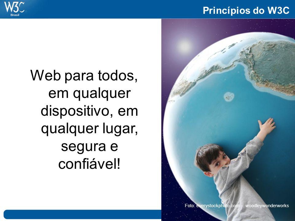 Princípios do W3C Web para todos, em qualquer dispositivo, em qualquer lugar, segura e confiável! Foto: everystockphoto.com - woodleywonderworks