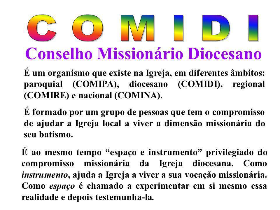 Conselho Missionário Diocesano É um organismo que existe na Igreja, em diferentes âmbitos: paroquial (COMIPA), diocesano (COMIDI), regional (COMIRE) e