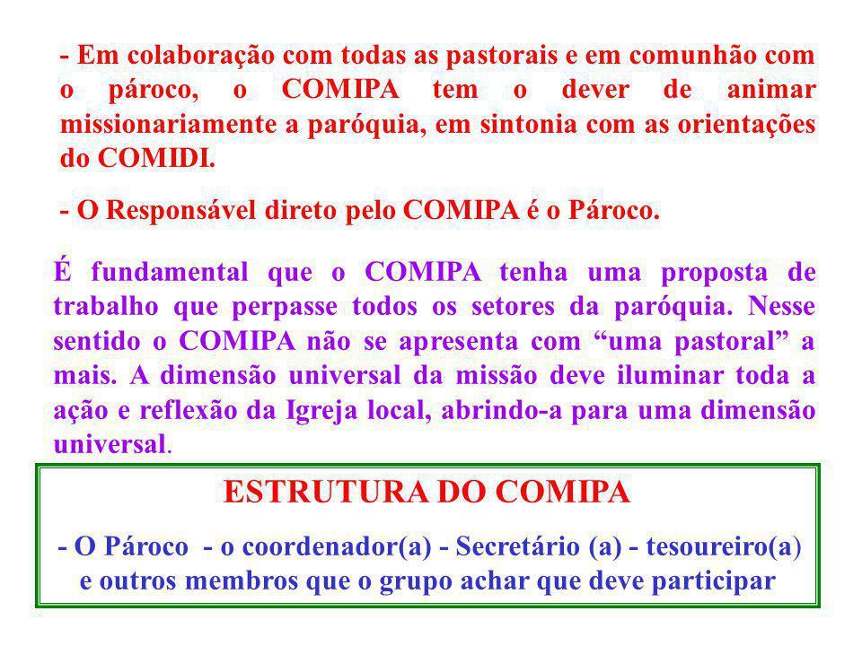 - Em colaboração com todas as pastorais e em comunhão com o pároco, o COMIPA tem o dever de animar missionariamente a paróquia, em sintonia com as ori