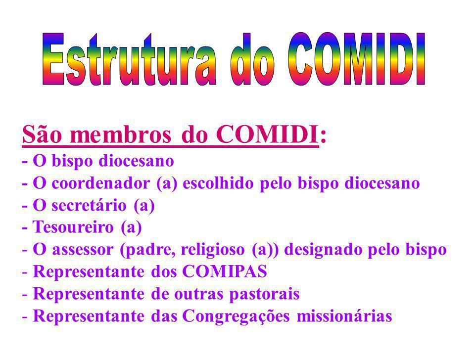 São membros do COMIDI: - O bispo diocesano - O coordenador (a) escolhido pelo bispo diocesano - O secretário (a) - Tesoureiro (a) - O assessor (padre,