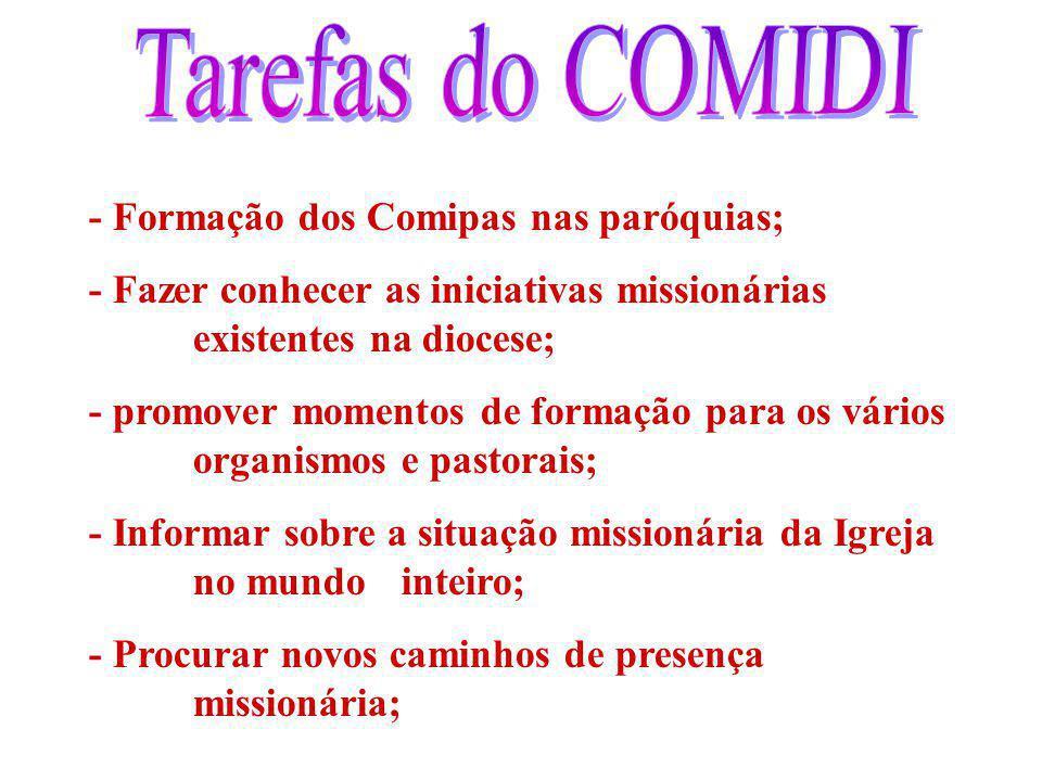 - Formação dos Comipas nas paróquias; - Fazer conhecer as iniciativas missionárias existentes na diocese; - promover momentos de formação para os vári