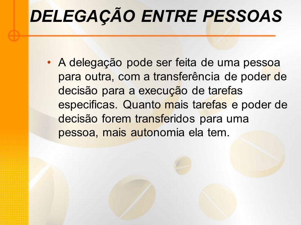 DELEGAÇÃO ENTRE PESSOAS A delegação pode ser feita de uma pessoa para outra, com a transferência de poder de decisão para a execução de tarefas especi