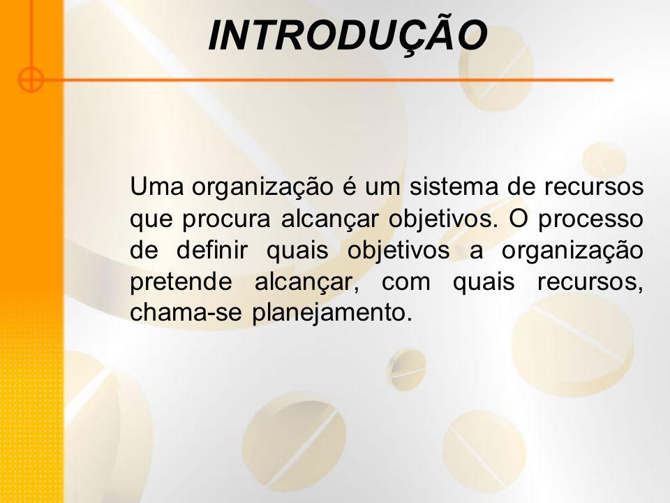 INTRODUÇÃO Uma organização é um sistema de recursos que procura alcançar objetivos. O processo de definir quais objetivos a organização pretende alcan