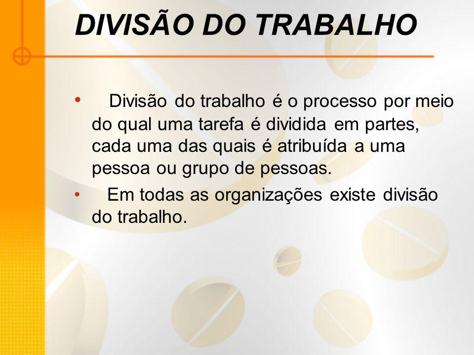 DIVISÃO DO TRABALHO Divisão do trabalho é o processo por meio do qual uma tarefa é dividida em partes, cada uma das quais é atribuída a uma pessoa ou