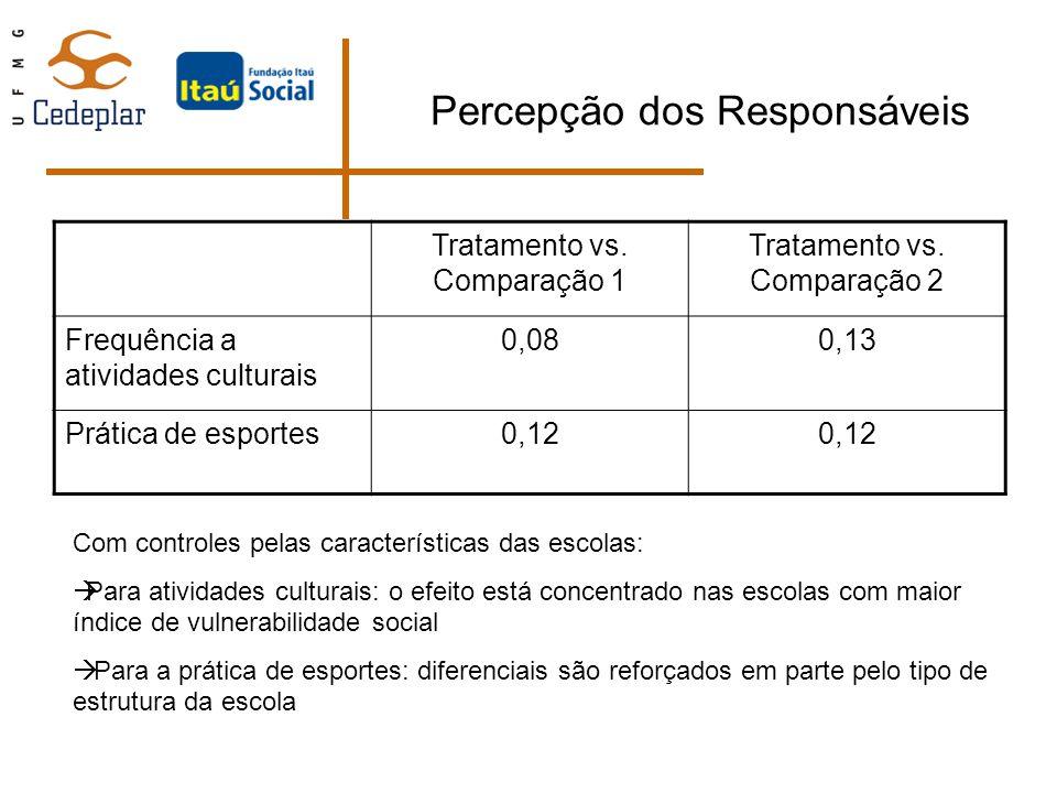 Percepção dos Responsáveis Tratamento vs. Comparação 1 Tratamento vs. Comparação 2 Frequência a atividades culturais 0,080,13 Prática de esportes0,12