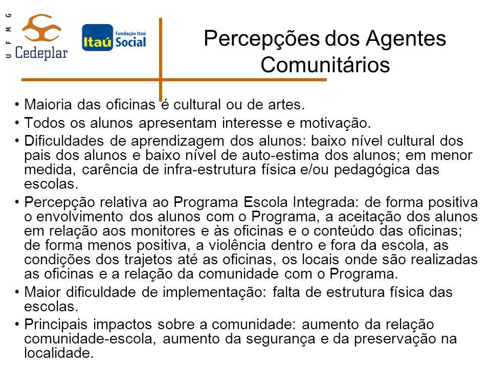 Percepções dos Agentes Comunitários Maioria das oficinas é cultural ou de artes. Todos os alunos apresentam interesse e motivação. Dificuldades de apr