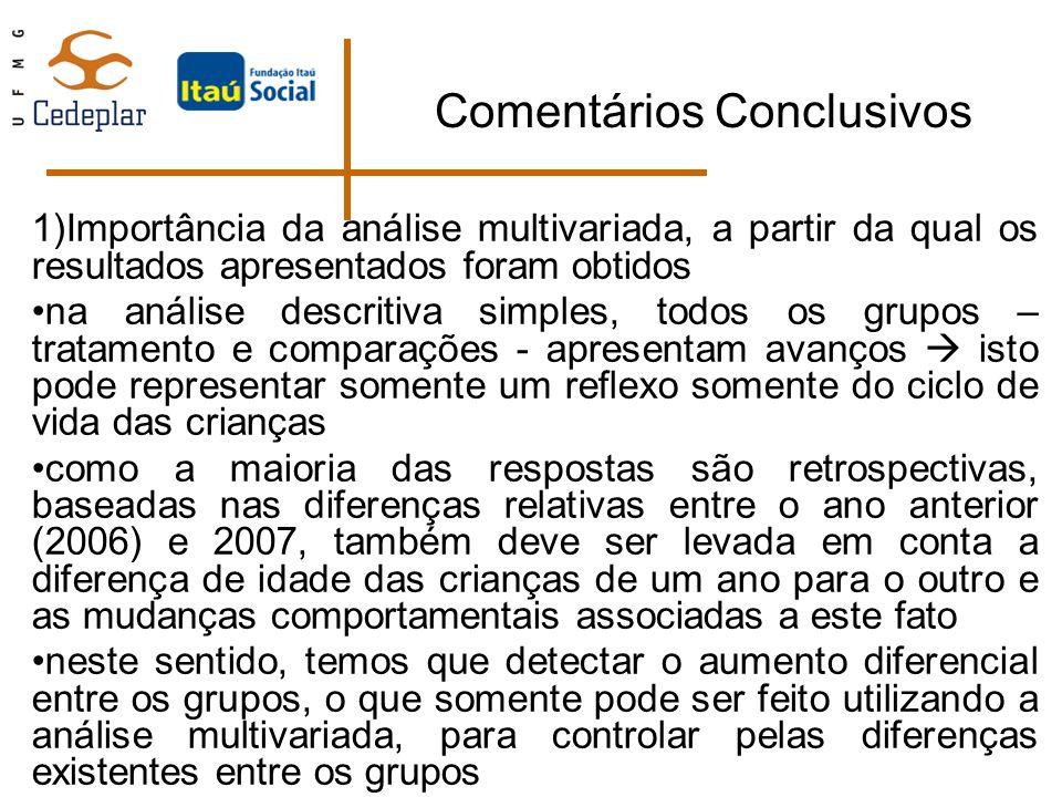 Comentários Conclusivos 1)Importância da análise multivariada, a partir da qual os resultados apresentados foram obtidos na análise descritiva simples
