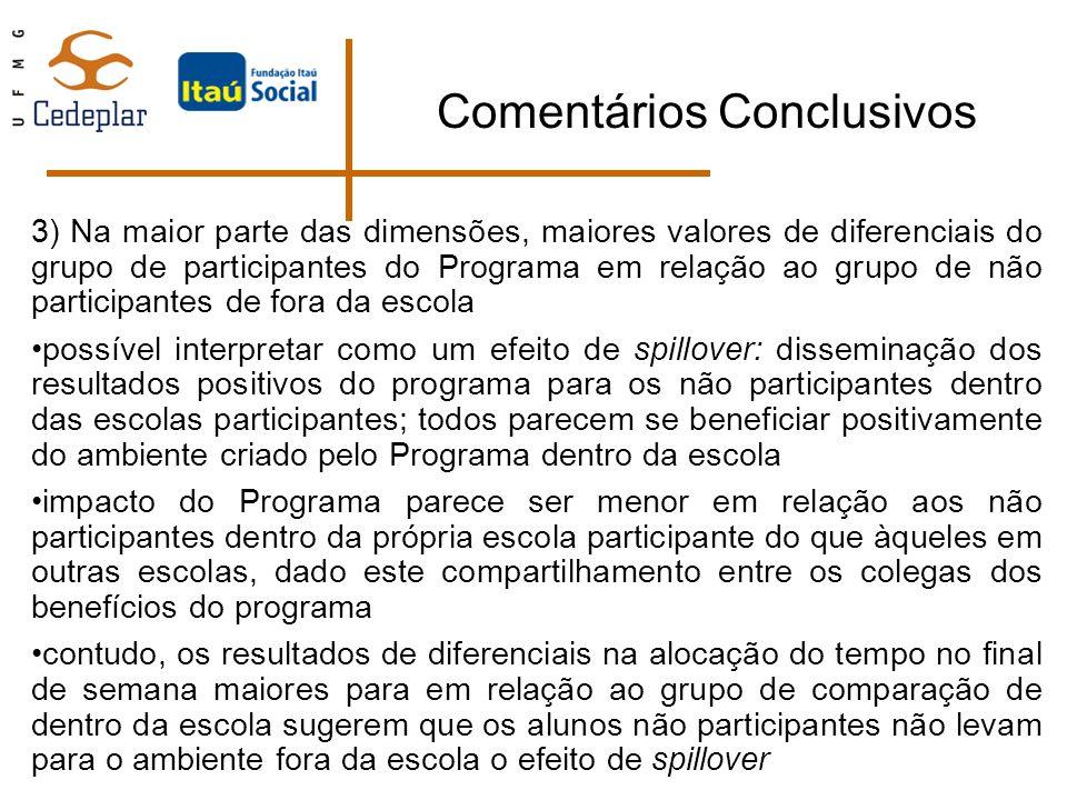 Comentários Conclusivos 3) Na maior parte das dimensões, maiores valores de diferenciais do grupo de participantes do Programa em relação ao grupo de