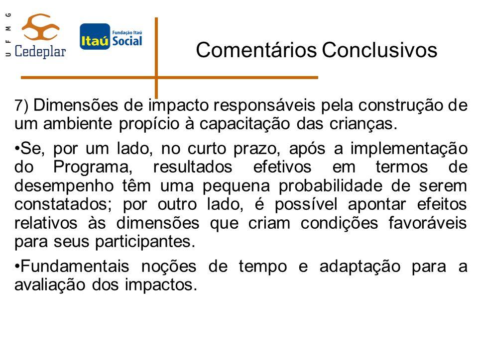 Comentários Conclusivos 7) Dimensões de impacto responsáveis pela construção de um ambiente propício à capacitação das crianças. Se, por um lado, no c