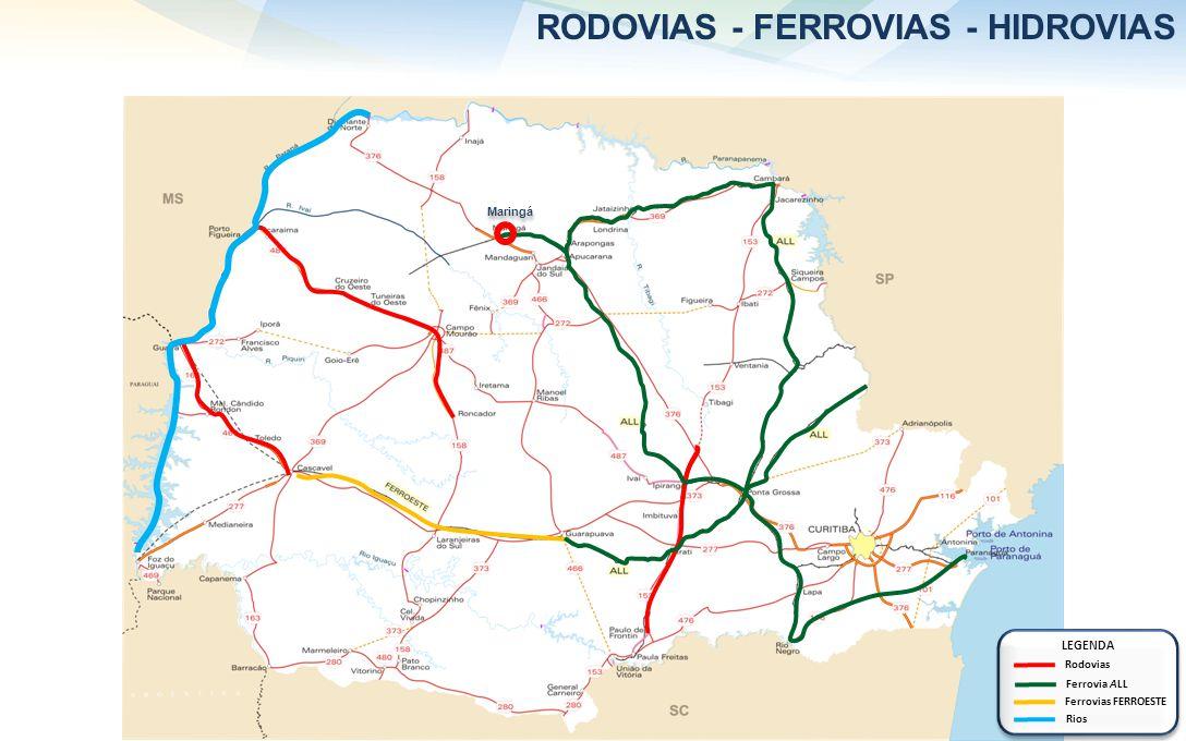 RODOVIAS - FERROVIAS - HIDROVIAS LEGENDA Rodovias Ferrovias FERROESTE Rios Ferrovia ALL Maringá