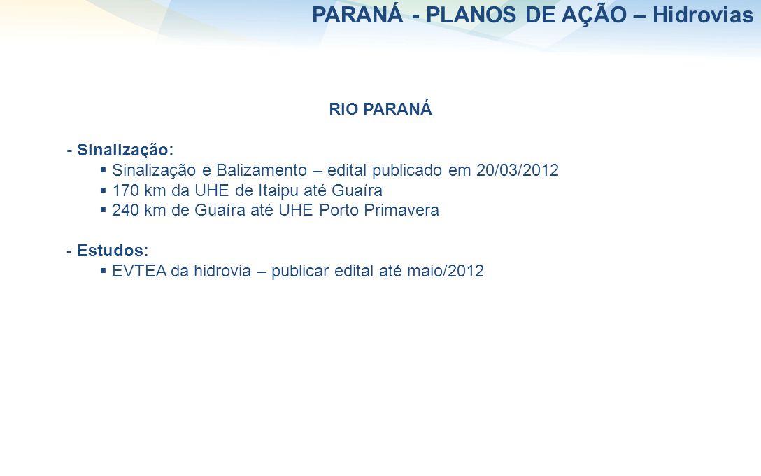 RIO PARANÁ - Sinalização: Sinalização e Balizamento – edital publicado em 20/03/2012 170 km da UHE de Itaipu até Guaíra 240 km de Guaíra até UHE Porto