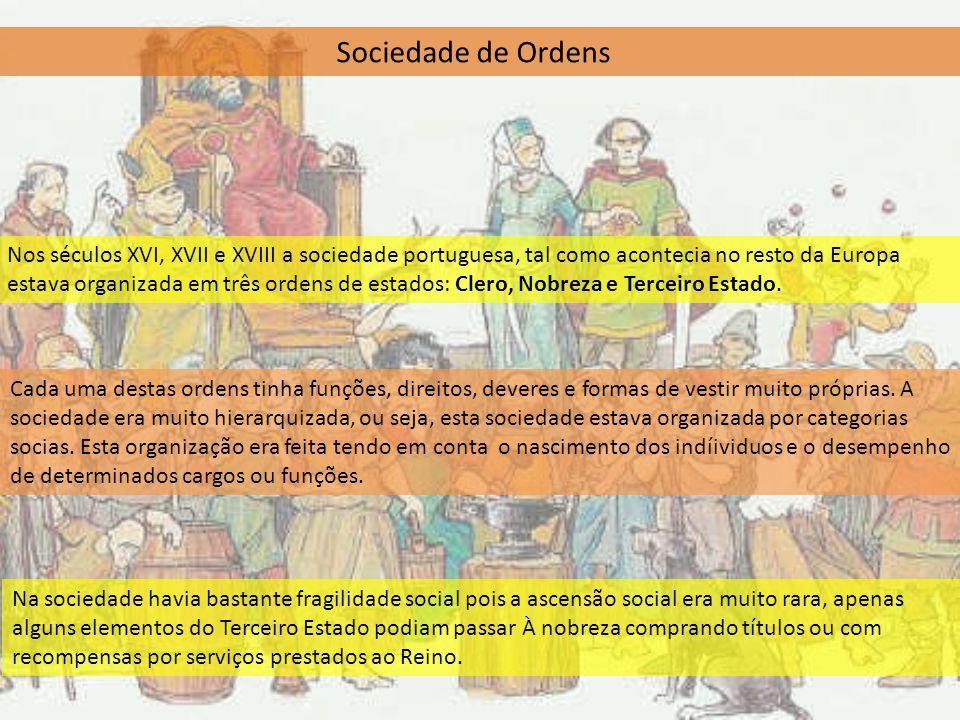 Sociedade de Ordens Nos séculos XVI, XVII e XVIII a sociedade portuguesa, tal como acontecia no resto da Europa estava organizada em três ordens de es