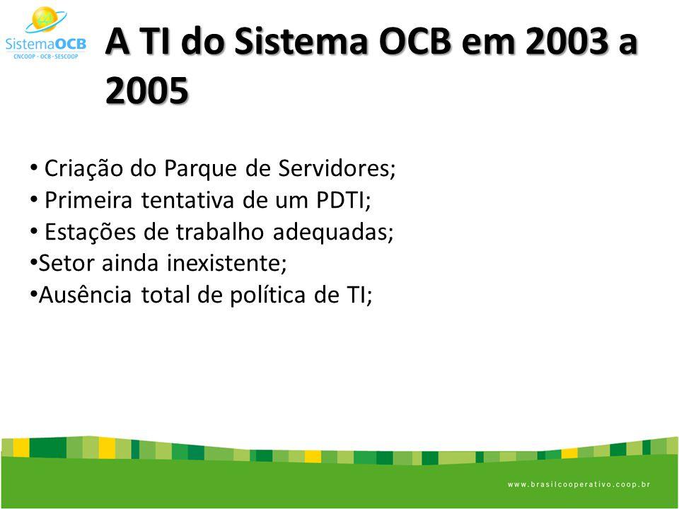 A TI do Sistema OCB em 2003 a 2005 Criação do Parque de Servidores; Primeira tentativa de um PDTI; Estações de trabalho adequadas; Setor ainda inexistente; Ausência total de política de TI;