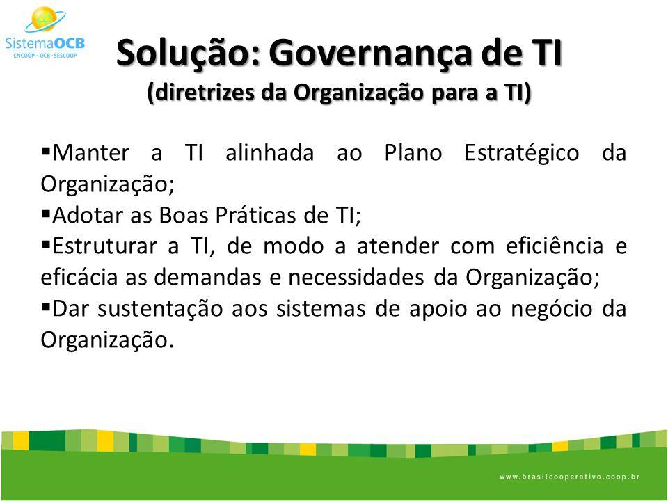 Solução: Governança de TI (diretrizes da Organização para a TI) Manter a TI alinhada ao Plano Estratégico da Organização; Adotar as Boas Práticas de TI; Estruturar a TI, de modo a atender com eficiência e eficácia as demandas e necessidades da Organização; Dar sustentação aos sistemas de apoio ao negócio da Organização.