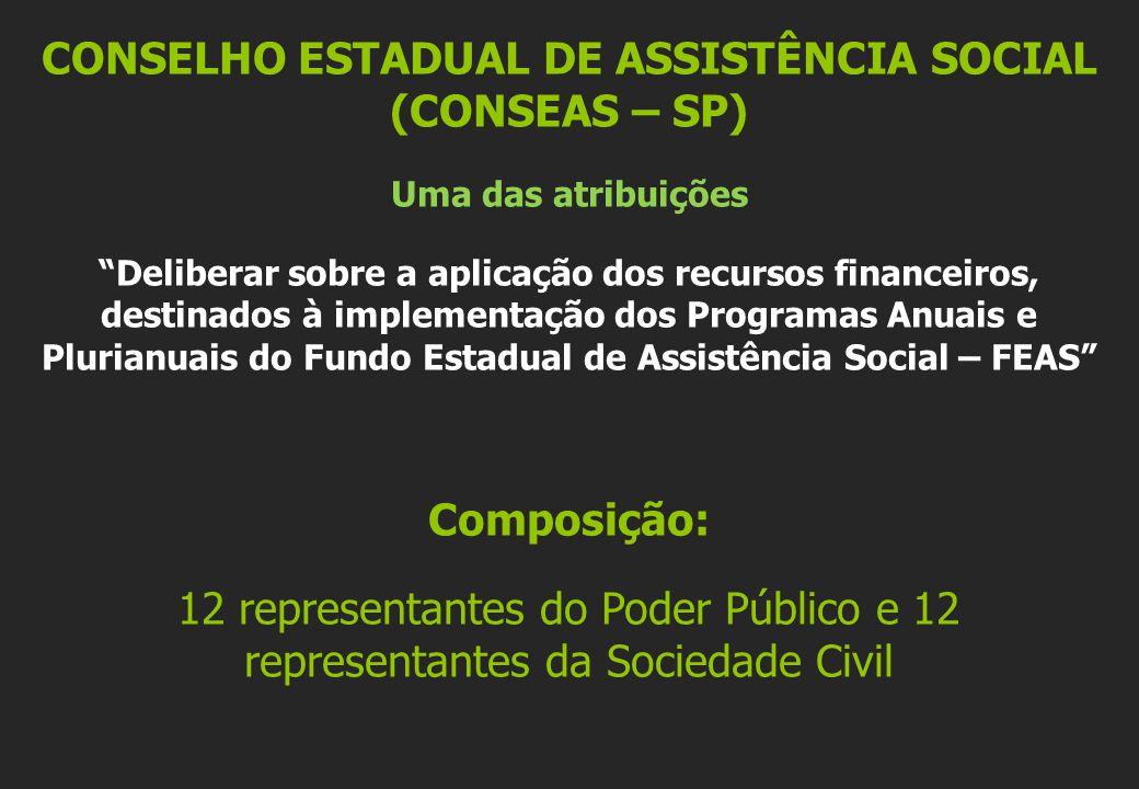 CONSELHO ESTADUAL DE ASSISTÊNCIA SOCIAL (CONSEAS – SP) Uma das atribuições Deliberar sobre a aplicação dos recursos financeiros, destinados à implemen