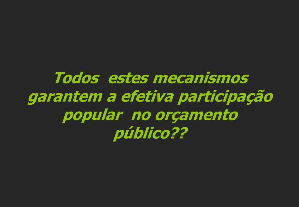 Todos estes mecanismos garantem a efetiva participação popular no orçamento público??