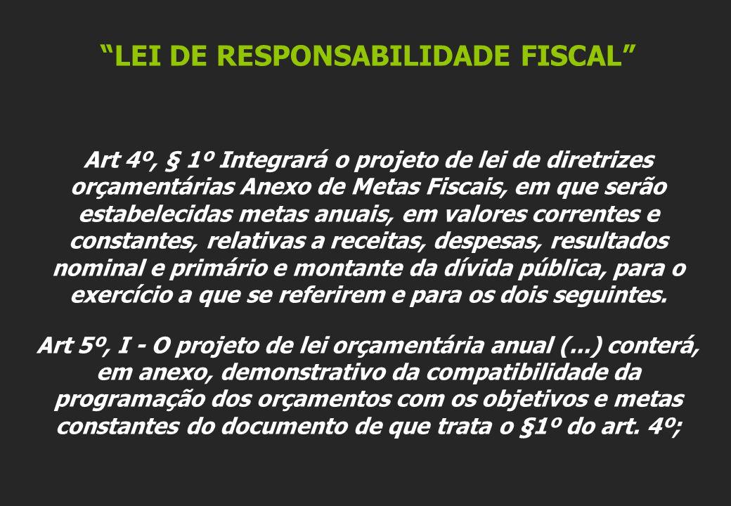 LEI DE RESPONSABILIDADE FISCAL Art 4º, § 1º Integrará o projeto de lei de diretrizes orçamentárias Anexo de Metas Fiscais, em que serão estabelecidas