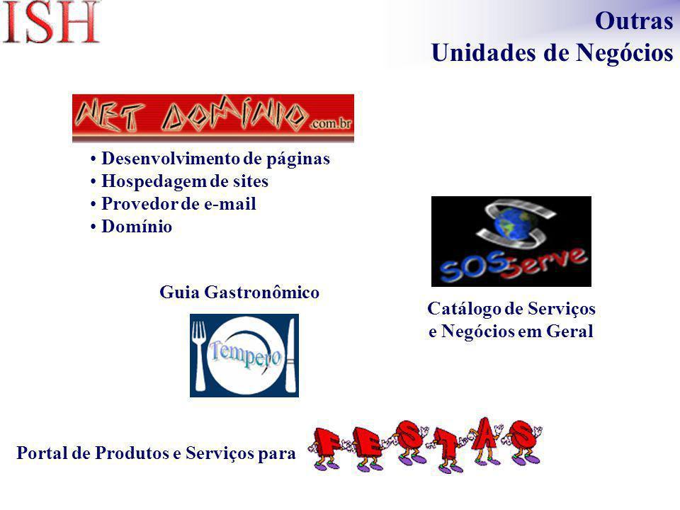 Desenvolvimento de páginas Hospedagem de sites Provedor de e-mail Domínio Catálogo de Serviços e Negócios em Geral Portal de Produtos e Serviços para