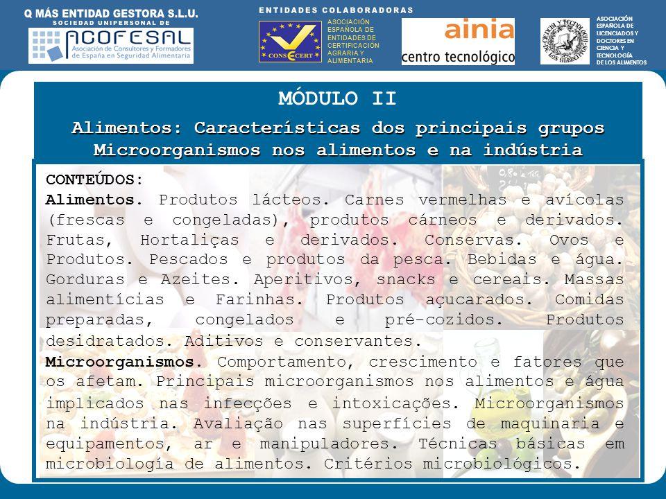 ASOCIACIÓN ESPAÑOLA DE ENTIDADES DE CERTIFICACIÓN AGRARIA Y ALIMENTARIA ASOCIACIÓN ESPAÑOLA DE LICENCIADOS Y DOCTORES EN CIENCIA Y TECNOLOGÍA DE LOS ALIMENTOS ENTIDADES COLABORADORAS: ASOCIACIÓN ESPAÑOLA DE ENTIDADES DE CERTIFICACIÓN AGRARIA Y ALIMENTARIA ASOCIACIÓN ESPAÑOLA DE LICENCIADOS Y DOCTORES EN CIENCIA Y TECNOLOGÍA DE LOS ALIMENTOS MÓDULO II Alimentos: Características dos principais grupos Microorganismos nos alimentos e na indústria CONTEÚDOS: Alimentos.