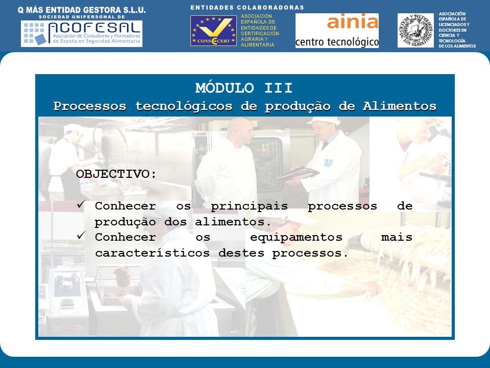 ASOCIACIÓN ESPAÑOLA DE ENTIDADES DE CERTIFICACIÓN AGRARIA Y ALIMENTARIA ASOCIACIÓN ESPAÑOLA DE LICENCIADOS Y DOCTORES EN CIENCIA Y TECNOLOGÍA DE LOS ALIMENTOS ENTIDADES COLABORADORAS: ASOCIACIÓN ESPAÑOLA DE ENTIDADES DE CERTIFICACIÓN AGRARIA Y ALIMENTARIA ASOCIACIÓN ESPAÑOLA DE LICENCIADOS Y DOCTORES EN CIENCIA Y TECNOLOGÍA DE LOS ALIMENTOS MÓDULO III Processos tecnológicos de produção de Alimentos OBJECTIVO: Conhecer os principais processos de produção dos alimentos.