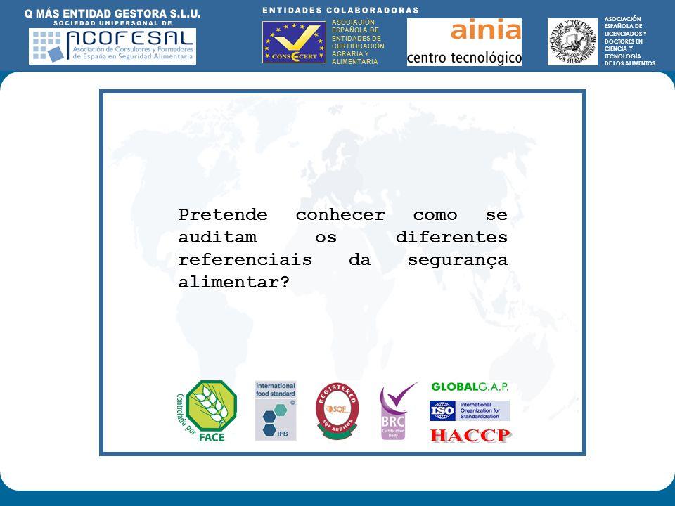 ASOCIACIÓN ESPAÑOLA DE ENTIDADES DE CERTIFICACIÓN AGRARIA Y ALIMENTARIA ASOCIACIÓN ESPAÑOLA DE LICENCIADOS Y DOCTORES EN CIENCIA Y TECNOLOGÍA DE LOS ALIMENTOS ENTIDADES COLABORADORAS: ASOCIACIÓN ESPAÑOLA DE ENTIDADES DE CERTIFICACIÓN AGRARIA Y ALIMENTARIA ASOCIACIÓN ESPAÑOLA DE LICENCIADOS Y DOCTORES EN CIENCIA Y TECNOLOGÍA DE LOS ALIMENTOS Pretende conhecer como se auditam os diferentes referenciais da segurança alimentar