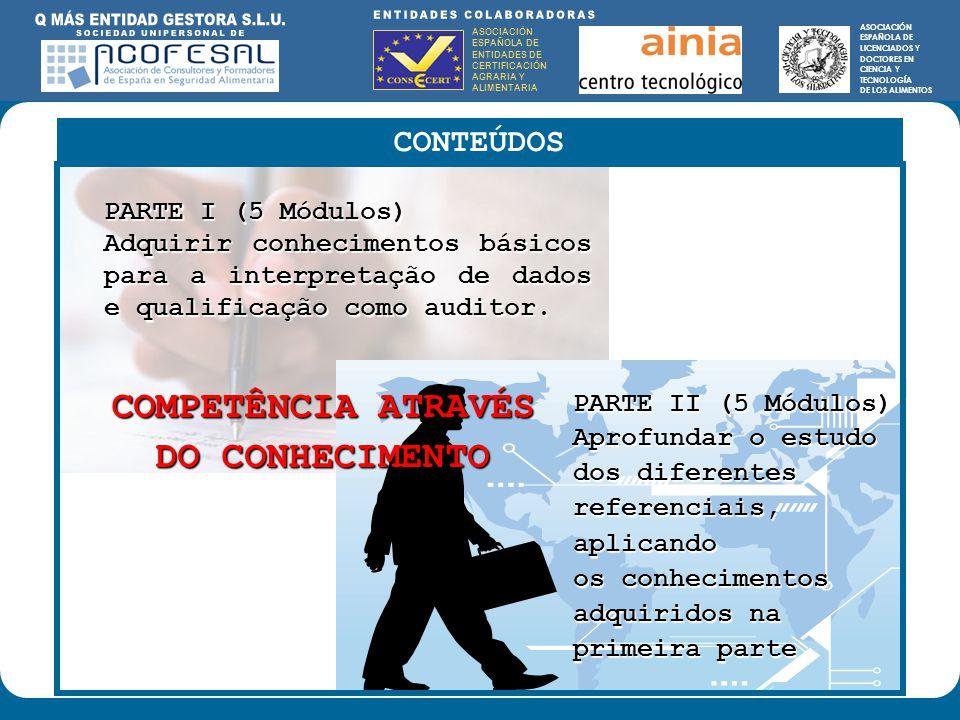 ASOCIACIÓN ESPAÑOLA DE ENTIDADES DE CERTIFICACIÓN AGRARIA Y ALIMENTARIA ASOCIACIÓN ESPAÑOLA DE LICENCIADOS Y DOCTORES EN CIENCIA Y TECNOLOGÍA DE LOS ALIMENTOS ENTIDADES COLABORADORAS: ASOCIACIÓN ESPAÑOLA DE ENTIDADES DE CERTIFICACIÓN AGRARIA Y ALIMENTARIA ASOCIACIÓN ESPAÑOLA DE LICENCIADOS Y DOCTORES EN CIENCIA Y TECNOLOGÍA DE LOS ALIMENTOS PARTE I (5 Módulos) Adquirir conhecimentos básicos para a interpretação de dados e qualificação como auditor.