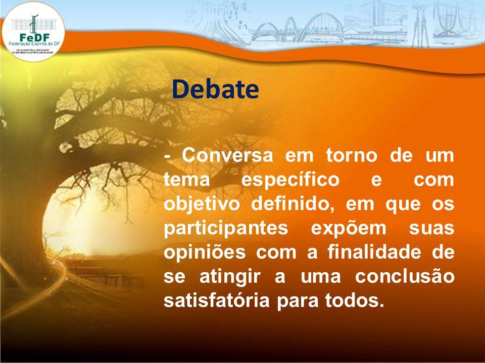 Debate - Conversa em torno de um tema específico e com objetivo definido, em que os participantes expõem suas opiniões com a finalidade de se atingir a uma conclusão satisfatória para todos.