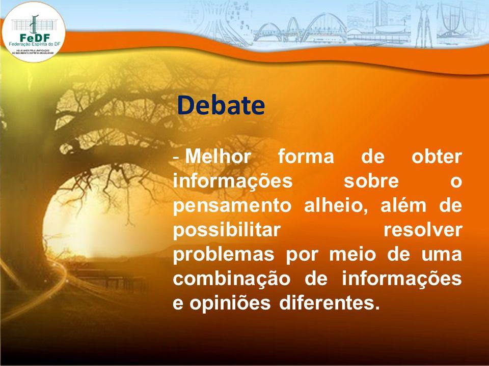 Debate - Melhor forma de obter informações sobre o pensamento alheio, além de possibilitar resolver problemas por meio de uma combinação de informações e opiniões diferentes.