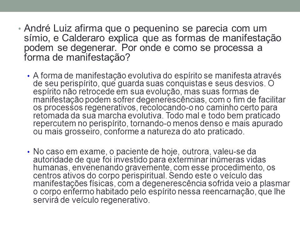 André Luiz afirma que o pequenino se parecia com um símio, e Calderaro explica que as formas de manifestação podem se degenerar. Por onde e como se pr