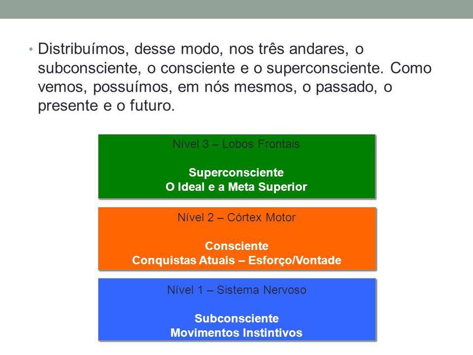Distribuímos, desse modo, nos três andares, o subconsciente, o consciente e o superconsciente. Como vemos, possuímos, em nós mesmos, o passado, o pres