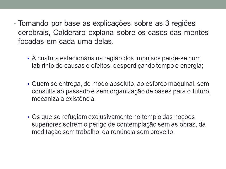 Tomando por base as explicações sobre as 3 regiões cerebrais, Calderaro explana sobre os casos das mentes focadas em cada uma delas. A criatura estaci