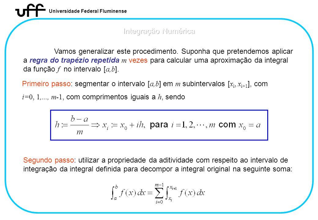 Universidade Federal Fluminense Vamos generalizar este procedimento. Suponha que pretendemos aplicar a regra do trapézio repetida m vezes para calcula