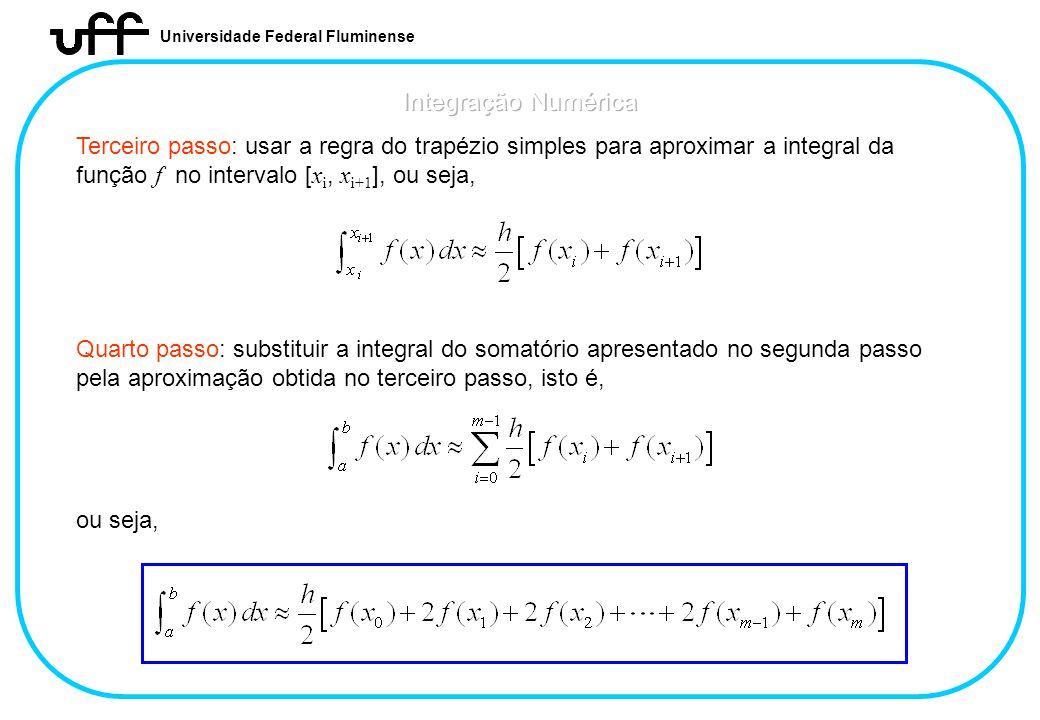 Universidade Federal Fluminense Terceiro passo: usar a regra do trapézio simples para aproximar a integral da função f no intervalo [ x i, x i+1 ], ou