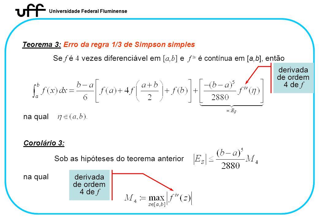 Universidade Federal Fluminense Teorema 3: Erro da regra 1/3 de Simpson simples Se f é 4 vezes diferenciável em [a,b] e f iv é contínua em [a,b], entã