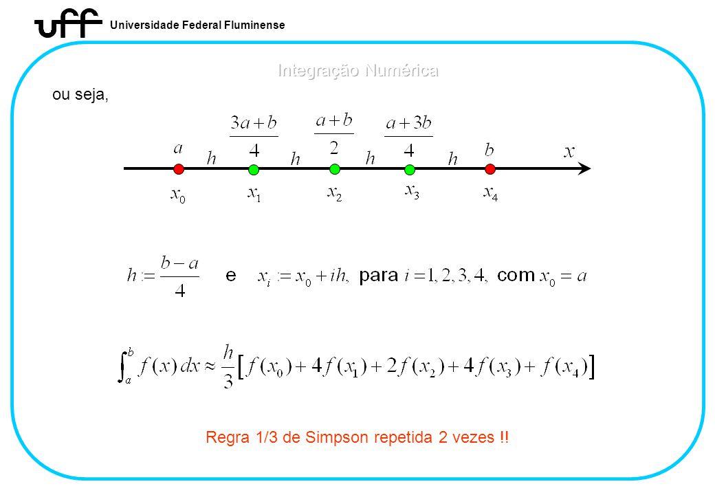 Universidade Federal Fluminense ou seja, Regra 1/3 de Simpson repetida 2 vezes !!